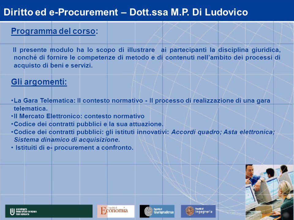 Diritto ed e-Procurement – Dott.ssa M.P.
