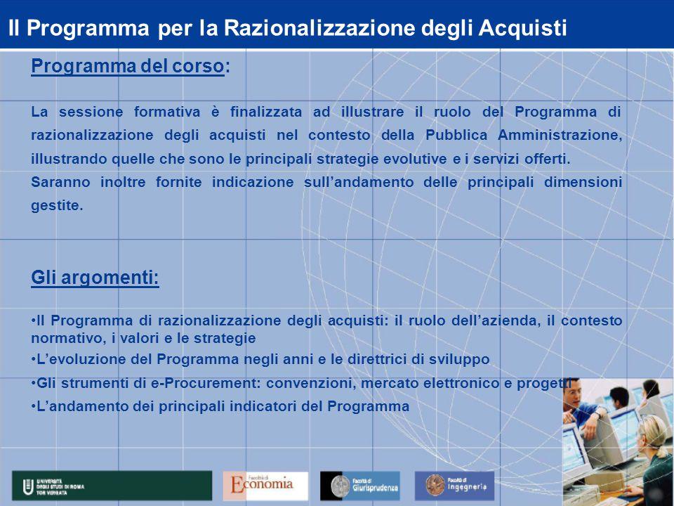 Il Programma per la Razionalizzazione degli Acquisti Programma del corso: La sessione formativa è finalizzata ad illustrare il ruolo del Programma di