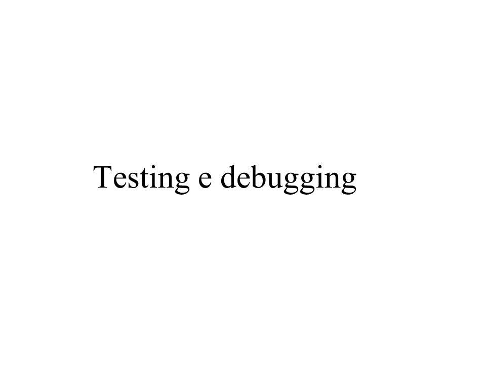 Glass-Box testing (2) Consideriamo il programma: static int maxOfThree (int x, int y, int z) { if (x > y) if (x > z) return x; else return z; if (y > z) return y; else return z; } Nonostante che ci siano n 3 input, dove n è l'intervallo di interi consentito dal linguaggio di programmazione, ci sono solo quattro cammini nel programma.