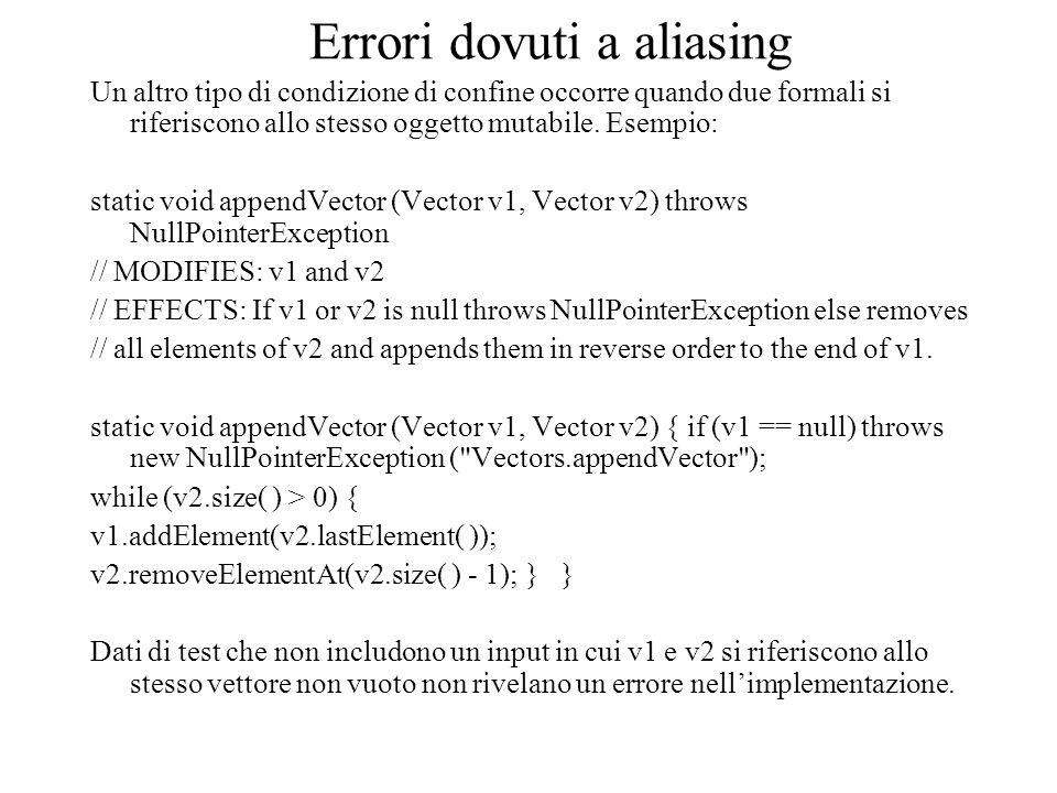 Errori dovuti a aliasing Un altro tipo di condizione di confine occorre quando due formali si riferiscono allo stesso oggetto mutabile. Esempio: stati