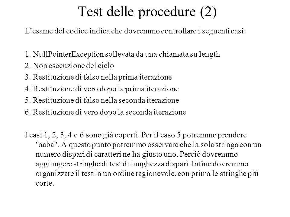 Test delle procedure (2) L'esame del codice indica che dovremmo controllare i seguenti casi: 1. NullPointerException sollevata da una chiamata su leng