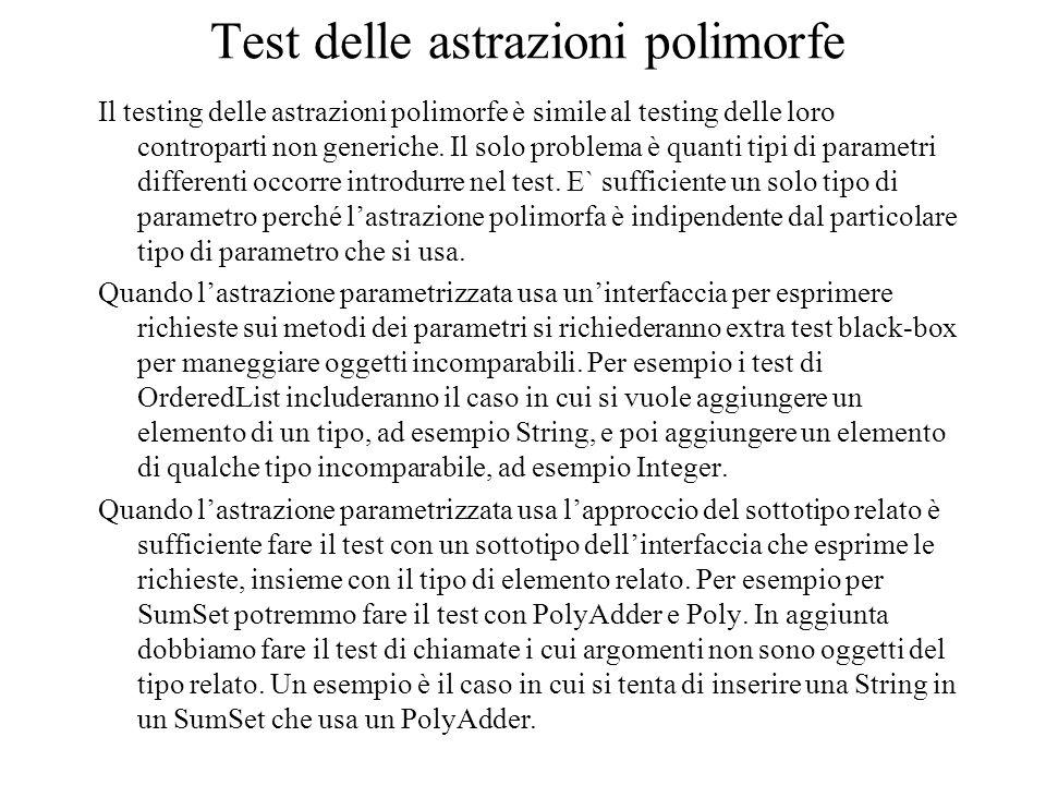 Test delle astrazioni polimorfe Il testing delle astrazioni polimorfe è simile al testing delle loro controparti non generiche. Il solo problema è qua