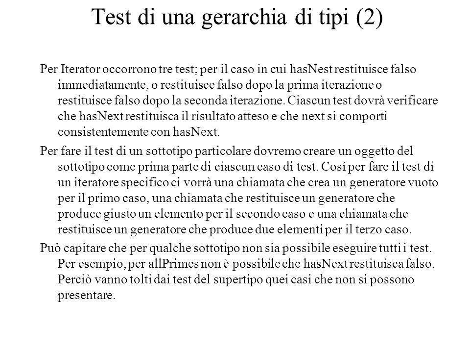 Test di una gerarchia di tipi (2) Per Iterator occorrono tre test; per il caso in cui hasNest restituisce falso immediatamente, o restituisce falso dopo la prima iterazione o restituisce falso dopo la seconda iterazione.