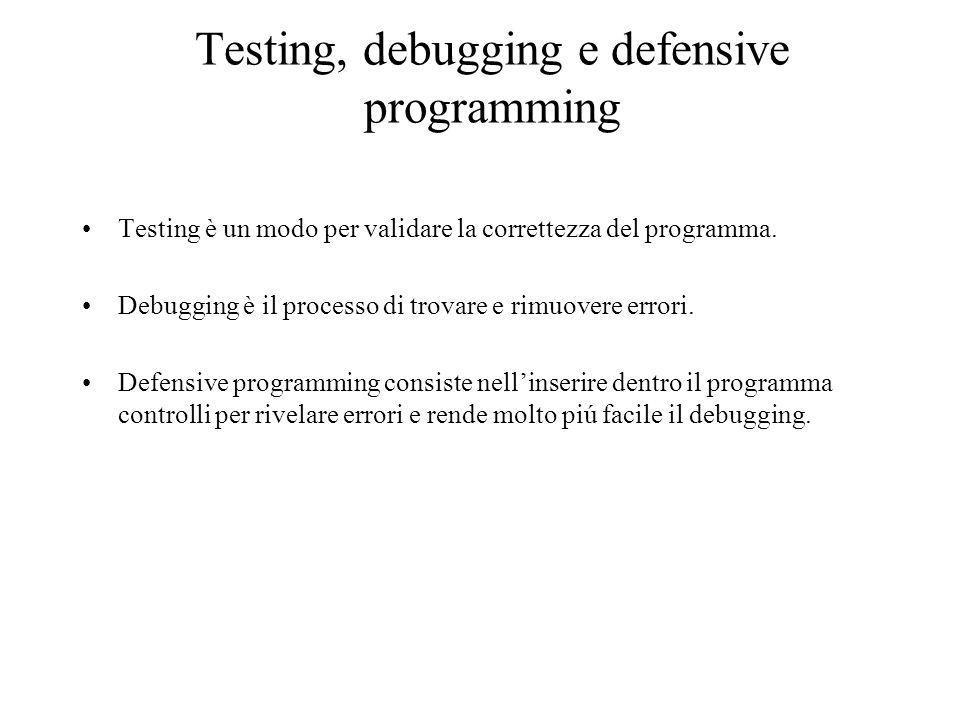 Testing, debugging e defensive programming Testing è un modo per validare la correttezza del programma. Debugging è il processo di trovare e rimuovere