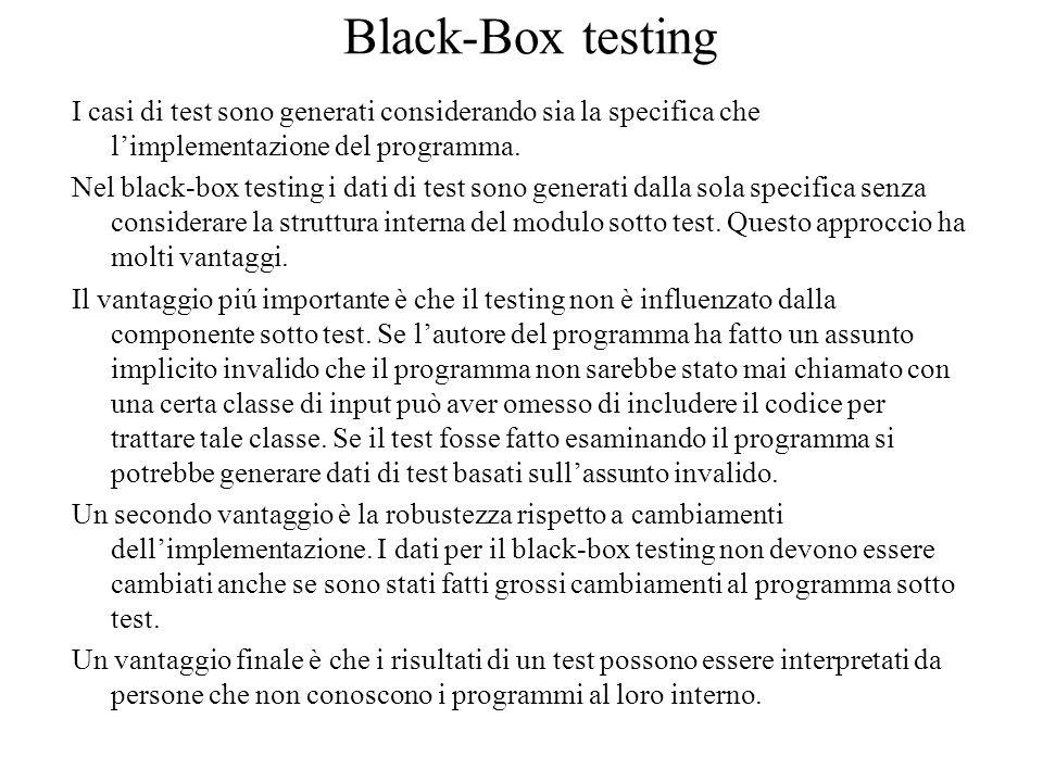 Black-Box testing I casi di test sono generati considerando sia la specifica che l'implementazione del programma. Nel black-box testing i dati di test