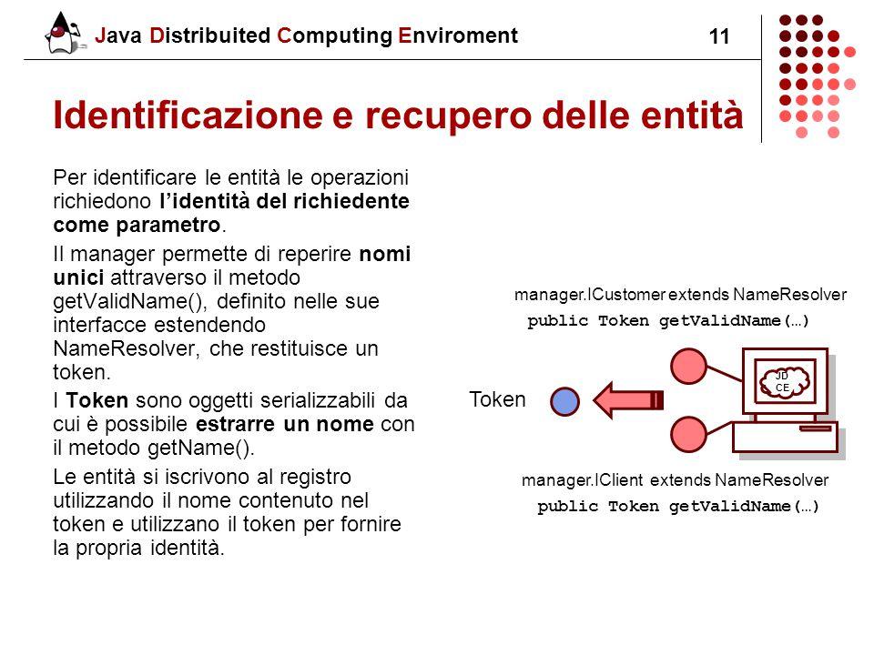 Java Distribuited Computing Enviroment 11 Identificazione e recupero delle entità Per identificare le entità le operazioni richiedono l'identità del richiedente come parametro.