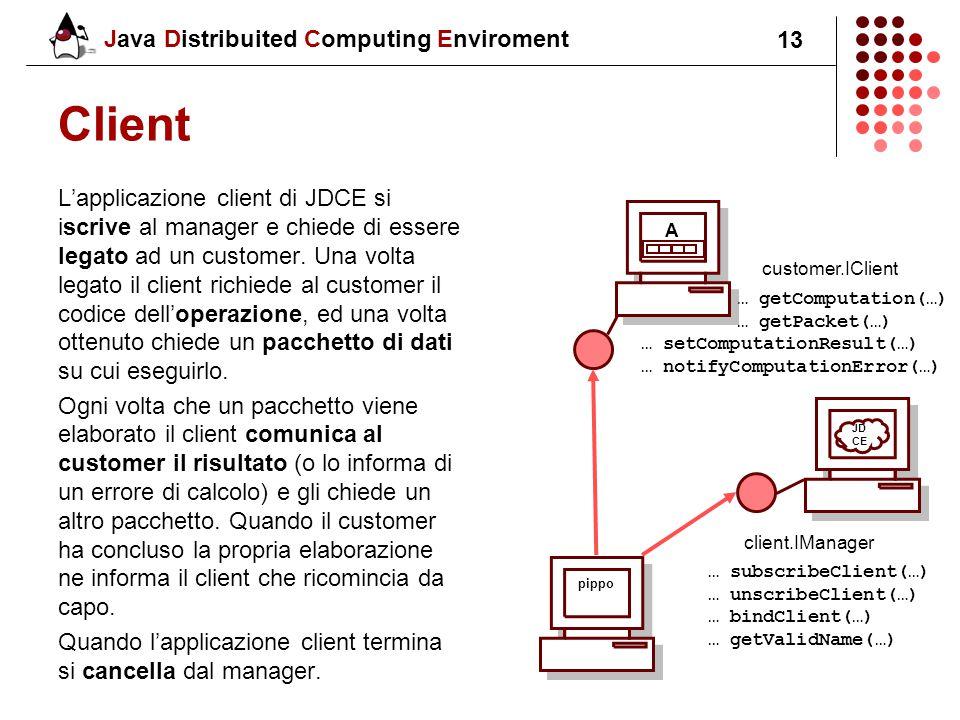 Java Distribuited Computing Enviroment 13 Client L'applicazione client di JDCE si iscrive al manager e chiede di essere legato ad un customer.
