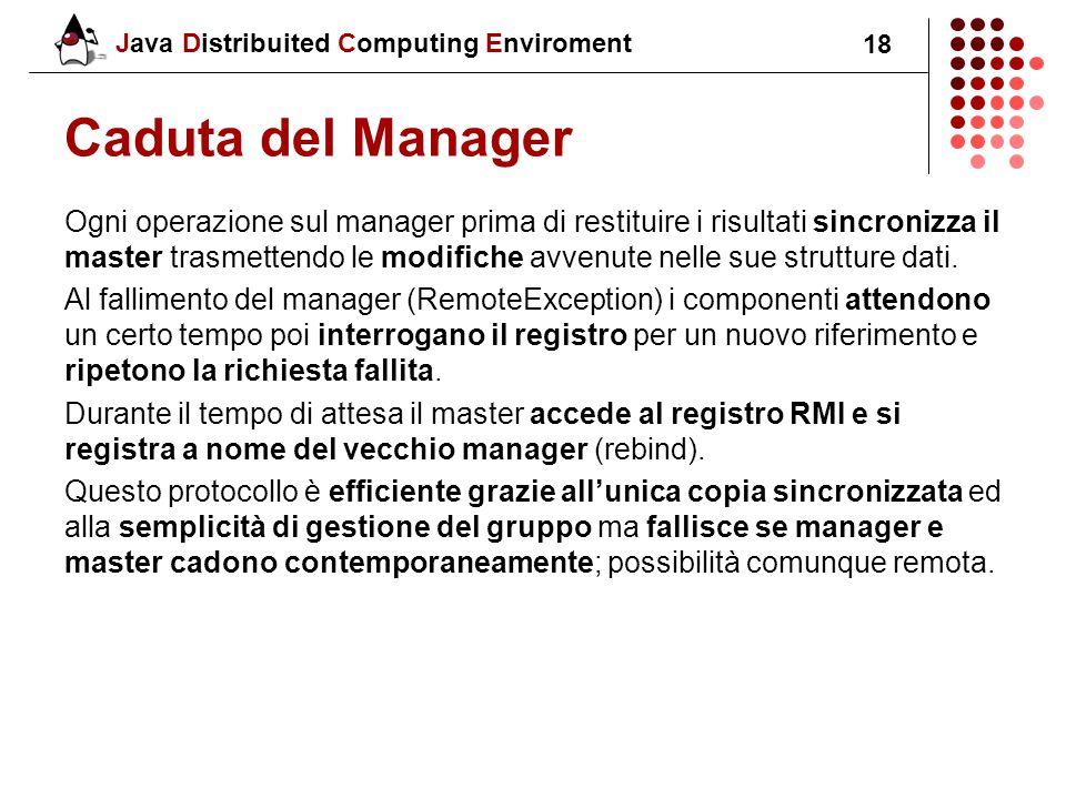 Java Distribuited Computing Enviroment 18 Caduta del Manager Ogni operazione sul manager prima di restituire i risultati sincronizza il master trasmettendo le modifiche avvenute nelle sue strutture dati.