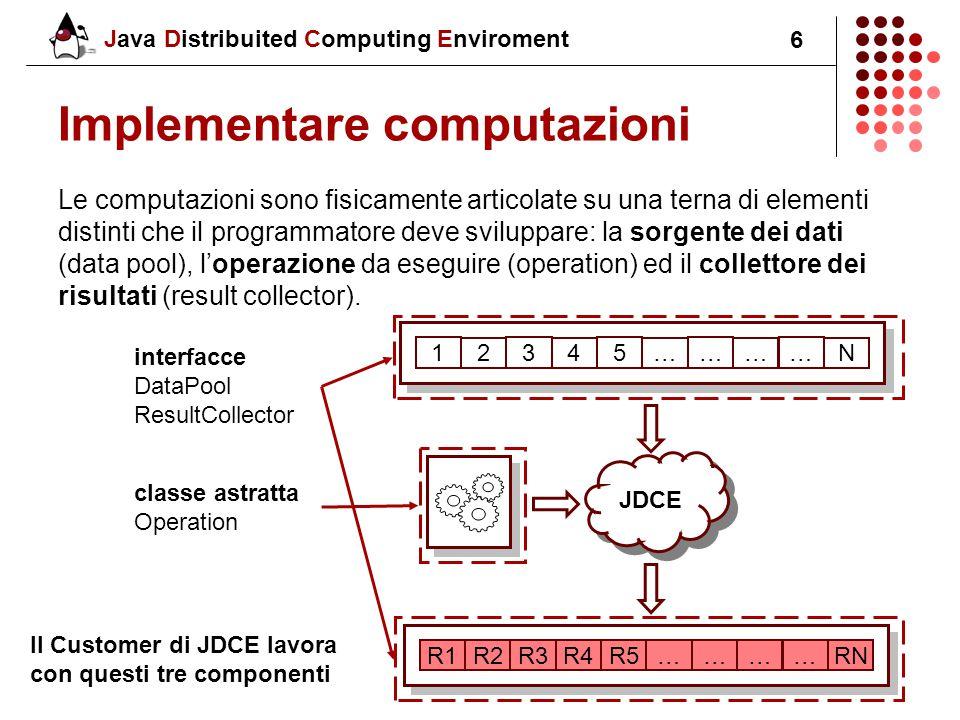 Java Distribuited Computing Enviroment 6 Implementare computazioni Le computazioni sono fisicamente articolate su una terna di elementi distinti che il programmatore deve sviluppare: la sorgente dei dati (data pool), l'operazione da eseguire (operation) ed il collettore dei risultati (result collector).