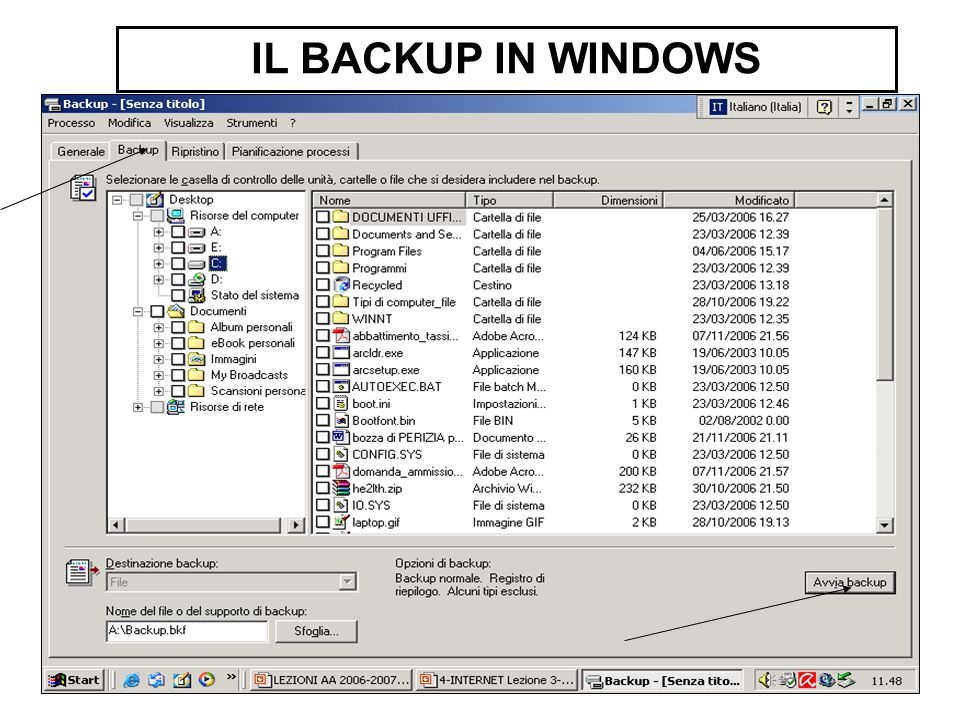 IL BACKUP IN WINDOWS