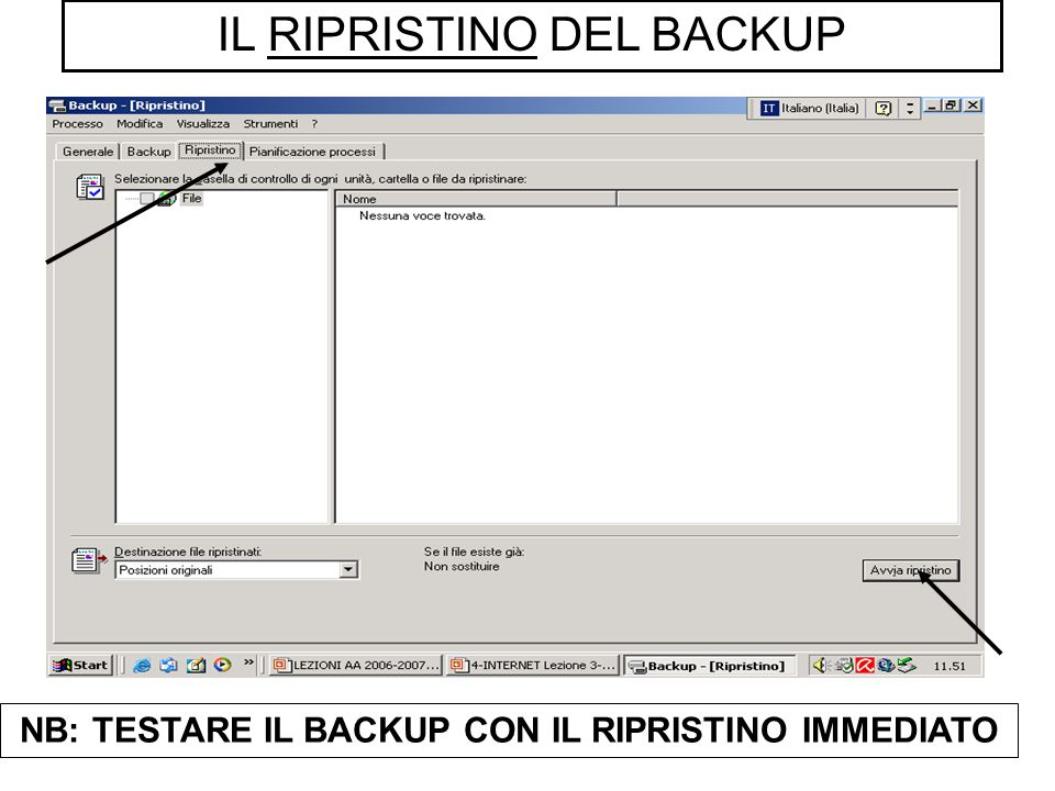 IL RIPRISTINO DEL BACKUP NB: TESTARE IL BACKUP CON IL RIPRISTINO IMMEDIATO