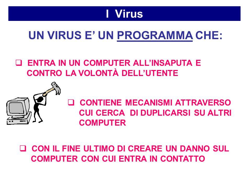 I Virus UN VIRUS E' UN PROGRAMMA CHE:  ENTRA IN UN COMPUTER ALL'INSAPUTA E CONTRO LA VOLONTÀ DELL'UTENTE  CONTIENE MECANISMI ATTRAVERSO CUI CERCA DI DUPLICARSI SU ALTRI COMPUTER  CON IL FINE ULTIMO DI CREARE UN DANNO SUL COMPUTER CON CUI ENTRA IN CONTATTO