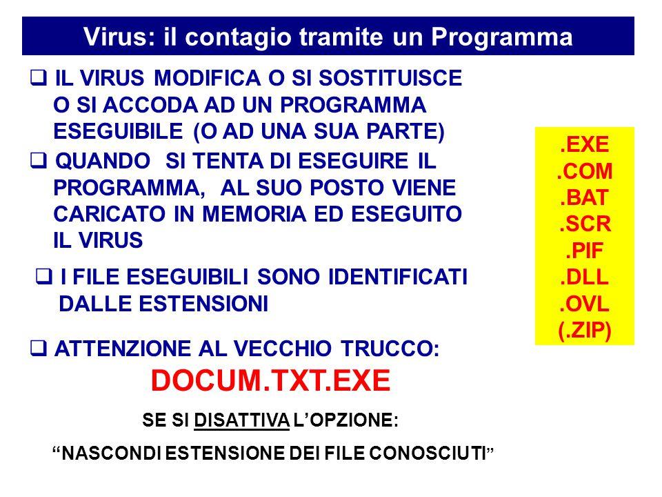 Virus: il contagio tramite un Programma  QUANDO SI TENTA DI ESEGUIRE IL PROGRAMMA, AL SUO POSTO VIENE CARICATO IN MEMORIA ED ESEGUITO IL VIRUS.EXE.COM.BAT.SCR.PIF.DLL.OVL (.ZIP)  I FILE ESEGUIBILI SONO IDENTIFICATI DALLE ESTENSIONI  ATTENZIONE AL VECCHIO TRUCCO: DOCUM.TXT POTREBBE DIVENTARE.....