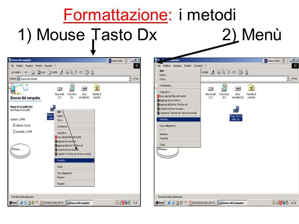 Formattazione: i metodi 1) Mouse Tasto Dx 2) Menù