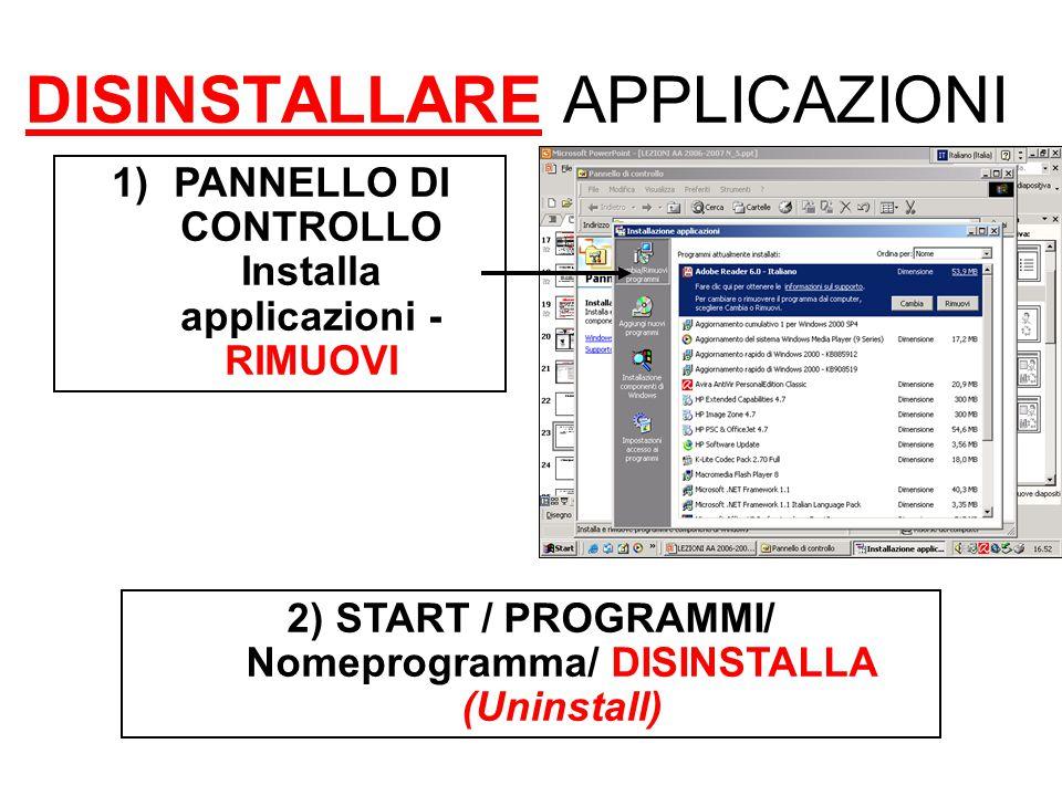 DISINSTALLARE APPLICAZIONI 1)PANNELLO DI CONTROLLO Installa applicazioni - RIMUOVI 2) START / PROGRAMMI/ Nomeprogramma/ DISINSTALLA (Uninstall)