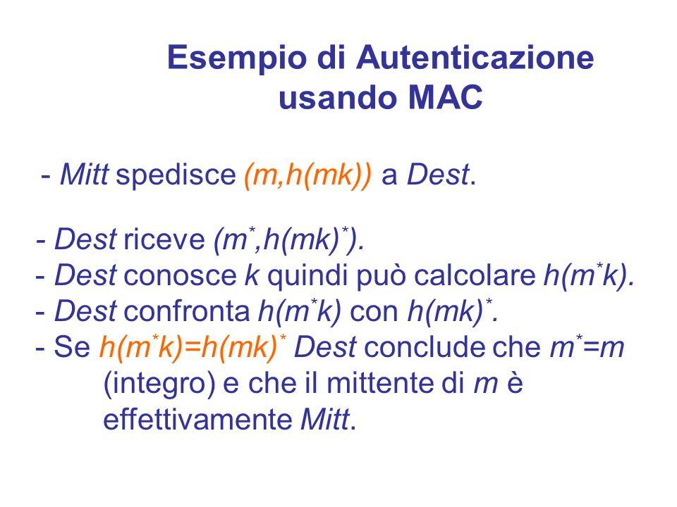 Esempio di MAC Otteniamo un MAC applicando una funzione hash alla concatenazione di m e della chiave k NOTA: il MAC non è invertibile.