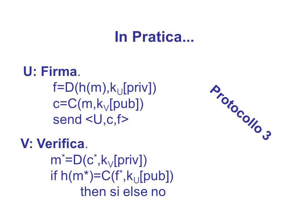 Soluzione U: Firma e cifra f=D(m,k U [priv]) c=C(f,k V [pub]) send V: Verifica.