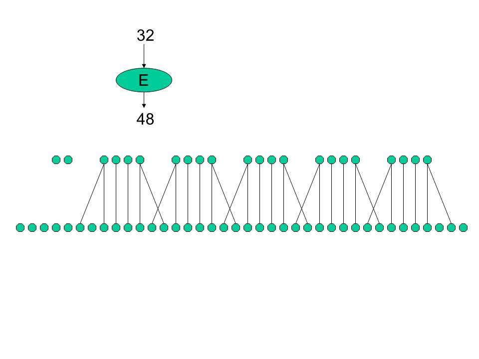 s1s2s3s4s5s6s7s8 P 32 bit + 48 bitK (48 bit) E