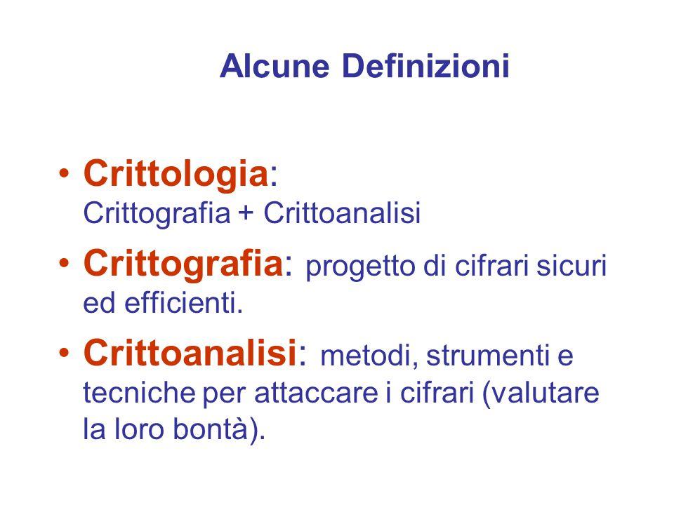 Alcune Definizioni Crittologia: Crittografia + Crittoanalisi Crittografia: progetto di cifrari sicuri ed efficienti.