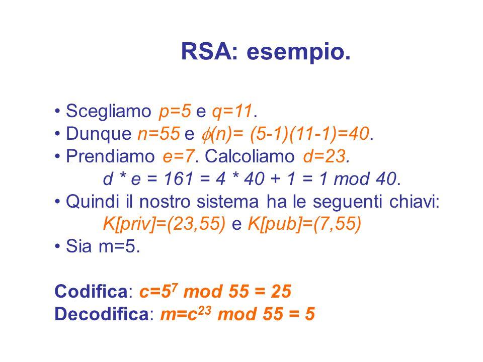 RSA: Decryption m = c d mod n