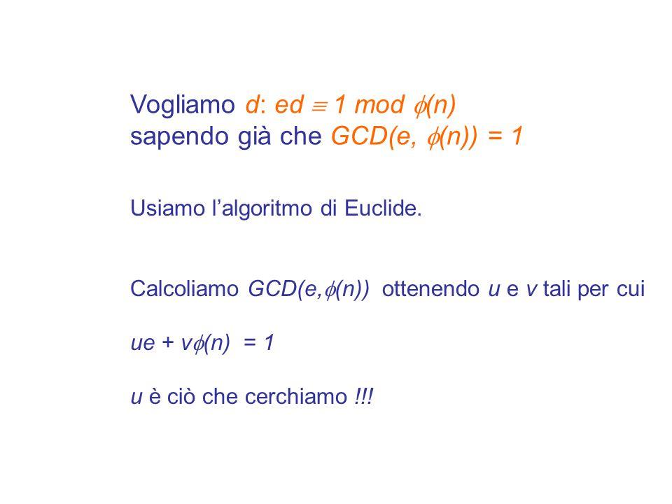 Se x e y sono primi tra loro alla fine abbiamo Quindi u è l'inverso moltiplicativo di x modulo y ovvero