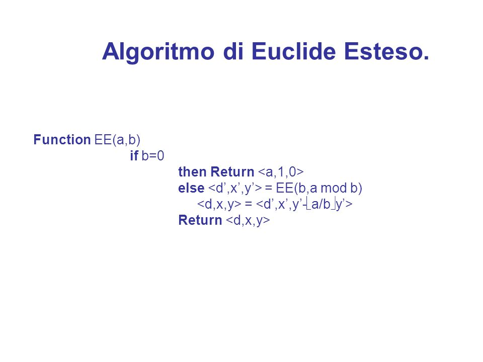 Algoritmo di Euclide. Function E(a,b) if b=0 then Return a else Return E(b, a mod b)