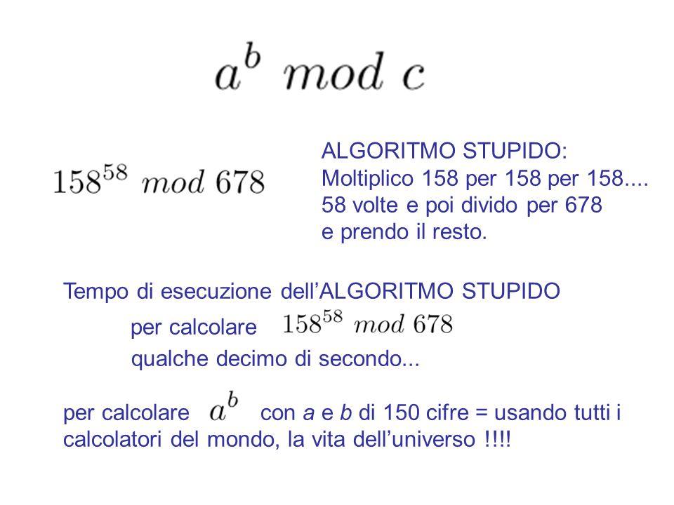 Algoritmo di Euclide Esteso. Function EE(a,b) if b=0 then Return else = EE(b,a mod b) = Return