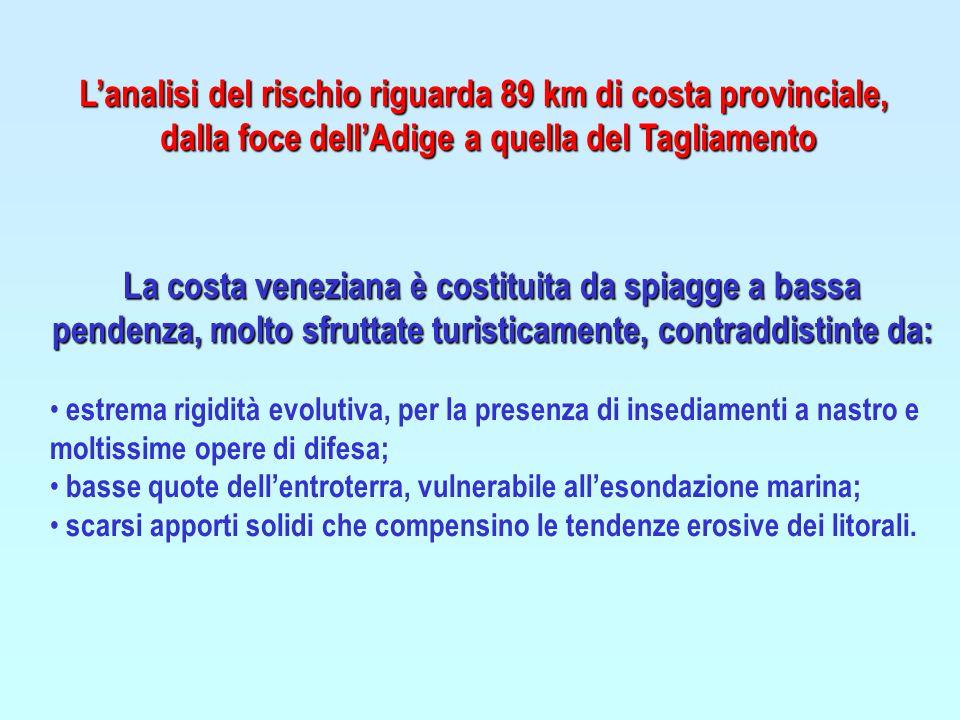 L'analisi del rischio riguarda 89 km di costa provinciale, dalla foce dell'Adige a quella del Tagliamento La costa veneziana è costituita da spiagge a bassa pendenza, molto sfruttate turisticamente, contraddistinte da: estrema rigidità evolutiva, per la presenza di insediamenti a nastro e moltissime opere di difesa; basse quote dell'entroterra, vulnerabile all'esondazione marina; scarsi apporti solidi che compensino le tendenze erosive dei litorali.