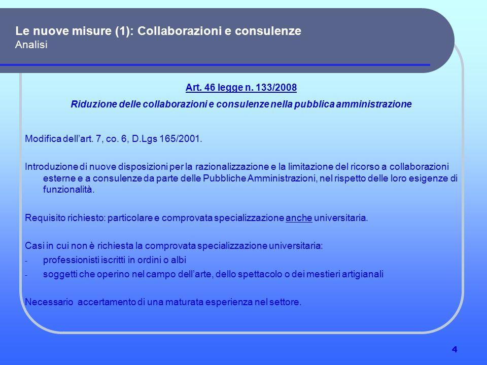 5 (1) Collaborazioni e consulenze Analisi Art.46 legge n.