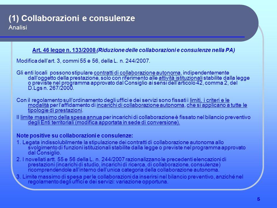 16 Le altre misure per la realizzazione del piano industriale della PA Primi elementi di analisi del ddl n.