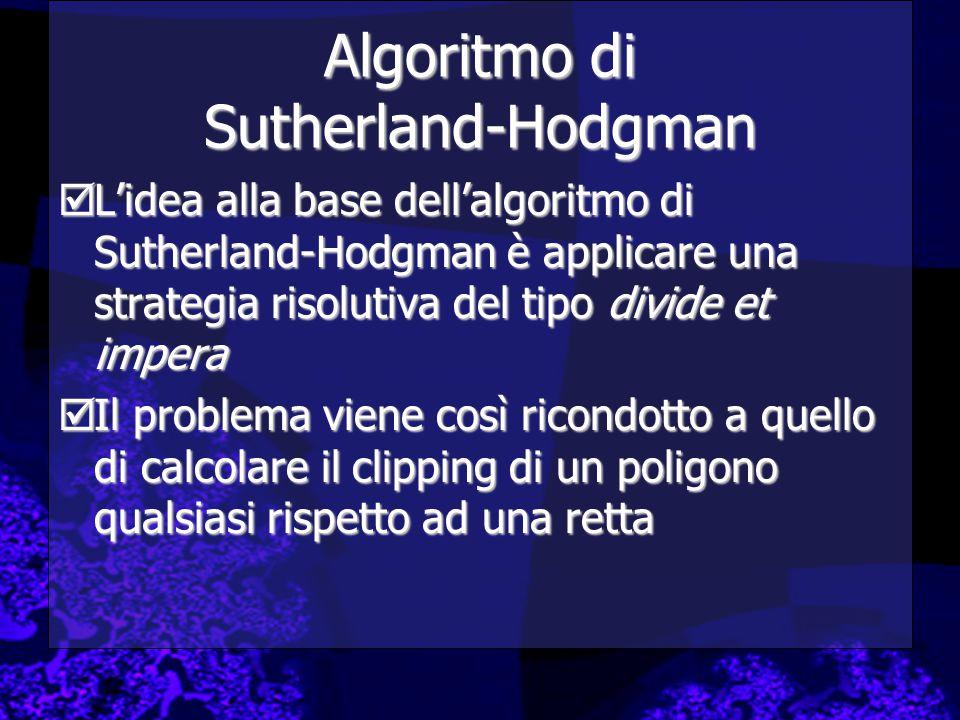 Algoritmo di Sutherland-Hodgman  L'idea alla base dell'algoritmo di Sutherland-Hodgman è applicare una strategia risolutiva del tipo divide et impera