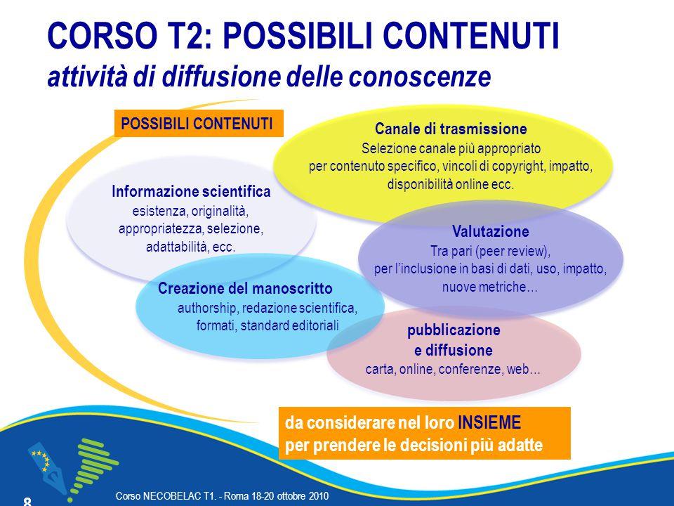 Corso NECOBELAC T1.- Roma 18-20 ottobre 2010 CORSO T2: in pratica, che fare.
