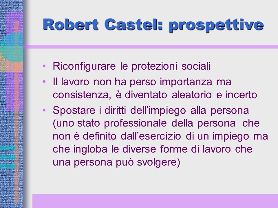 Robert Castel: prospettive Riconfigurare le protezioni sociali Il lavoro non ha perso importanza ma consistenza, è diventato aleatorio e incerto Spostare i diritti dell'impiego alla persona (uno stato professionale della persona che non è definito dall'esercizio di un impiego ma che ingloba le diverse forme di lavoro che una persona può svolgere)