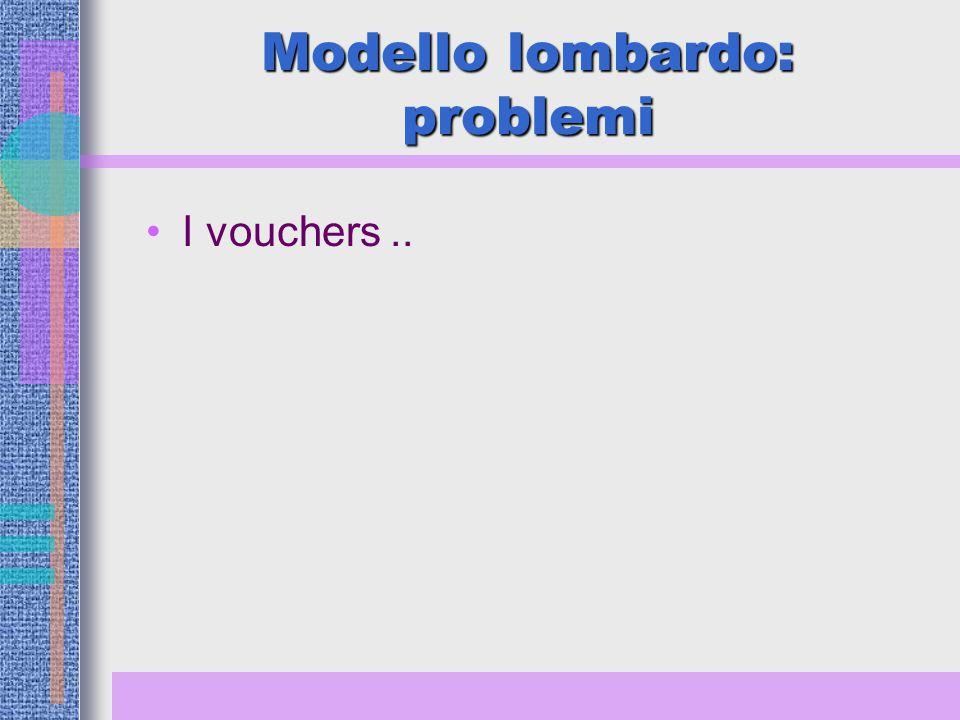 Modello lombardo: problemi I vouchers..