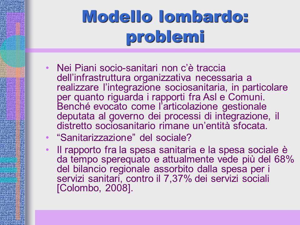 Modello lombardo: problemi Nei Piani socio-sanitari non c'è traccia dell'infrastruttura organizzativa necessaria a realizzare l'integrazione sociosanitaria, in particolare per quanto riguarda i rapporti fra Asl e Comuni.