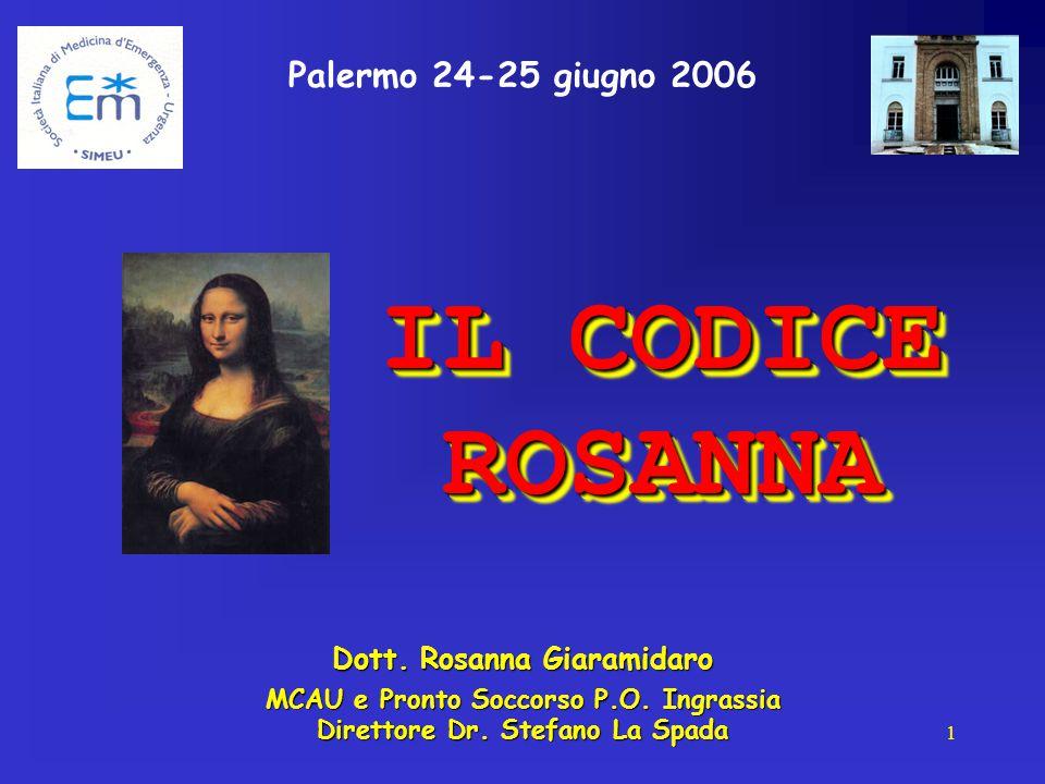 1 Palermo 24-25 giugno 2006 Dott. Rosanna Giaramidaro MCAU e Pronto Soccorso P.O. Ingrassia Direttore Dr. Stefano La Spada IL CODICE ROSANNA