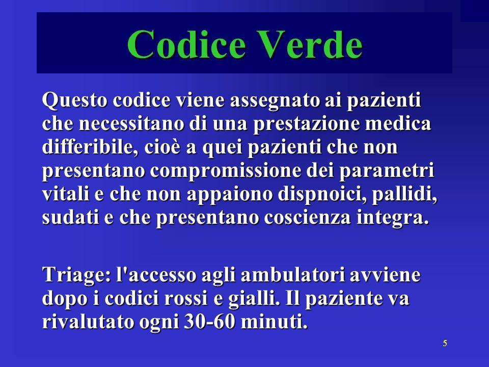 5 Codice Verde Questo codice viene assegnato ai pazienti che necessitano di una prestazione medica differibile, cioè a quei pazienti che non presentan