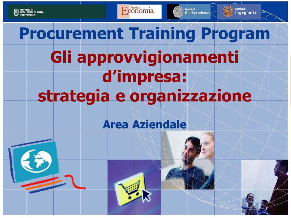 Procurement Training Program Gli approvvigionamenti d'impresa: strategia e organizzazione Area Aziendale
