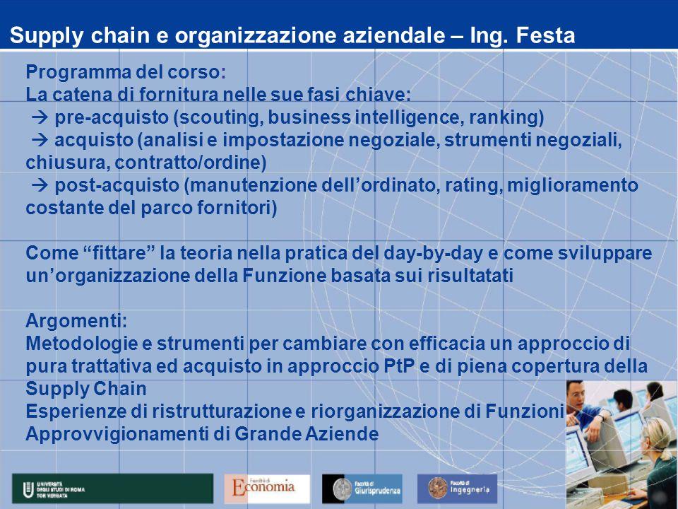 Supply chain e organizzazione aziendale – Ing. Festa Programma del corso: La catena di fornitura nelle sue fasi chiave:  pre-acquisto (scouting, busi