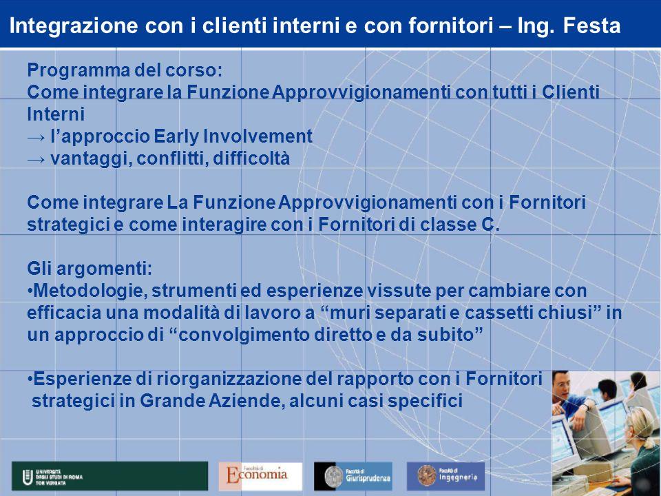 Integrazione con i clienti interni e con fornitori – Ing. Festa Programma del corso: Come integrare la Funzione Approvvigionamenti con tutti i Clienti