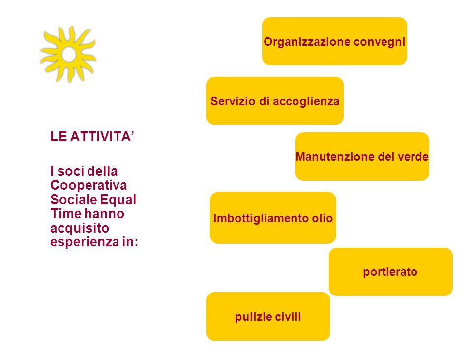 LE ATTIVITA' I soci della Cooperativa Sociale Equal Time hanno acquisito esperienza in: Manutenzione del verde Organizzazione convegni pulizie civili