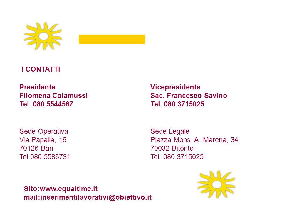 Presidente Filomena Colamussi Tel. 080.5544567 Vicepresidente Sac. Francesco Savino Tel. 080.3715025 I CONTATTI Sede Legale Piazza Mons. A. Marena, 34