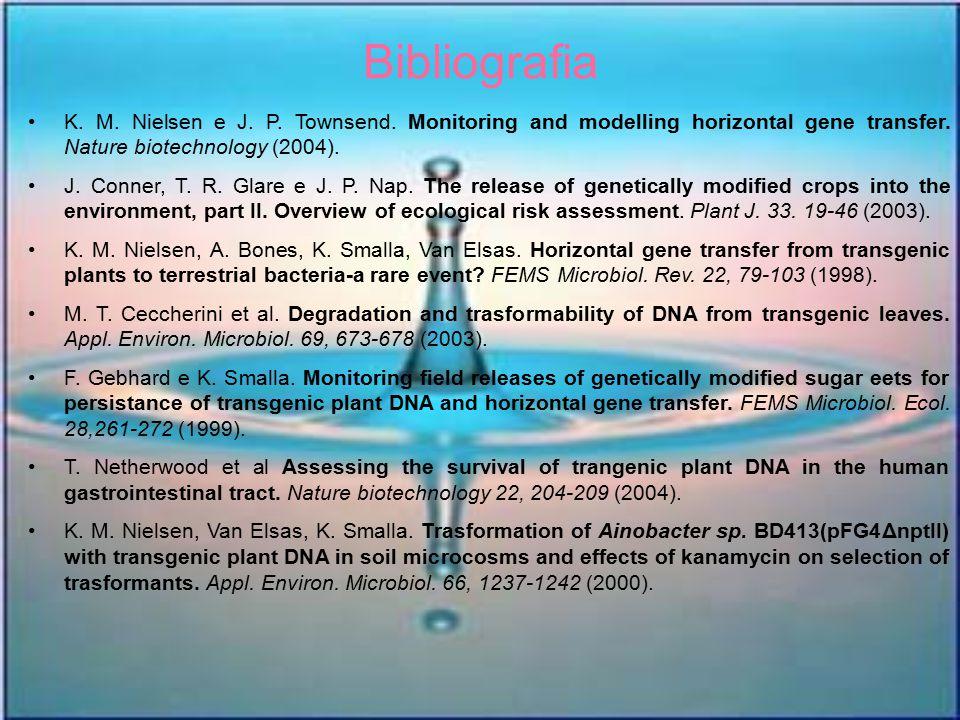 Bibliografia K. M. Nielsen e J. P. Townsend. Monitoring and modelling horizontal gene transfer. Nature biotechnology (2004). J. Conner, T. R. Glare e