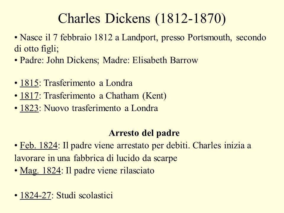 Charles Dickens (1812-1870) Nasce il 7 febbraio 1812 a Landport, presso Portsmouth, secondo di otto figli; Padre: John Dickens; Madre: Elisabeth Barrow 1815: Trasferimento a Londra 1817: Trasferimento a Chatham (Kent) 1823: Nuovo trasferimento a Londra Arresto del padre Feb.