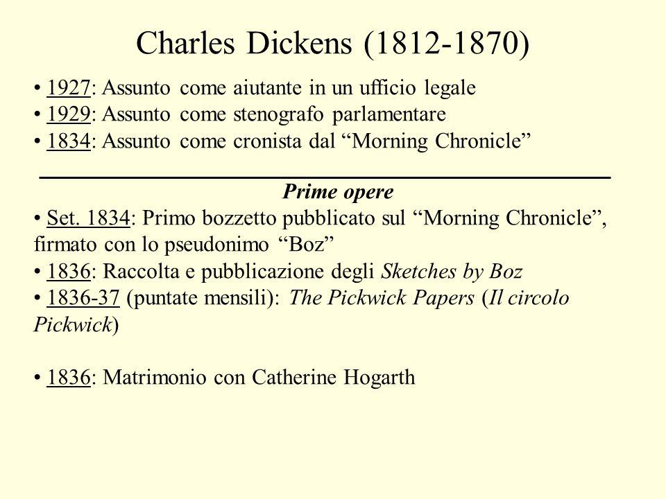 Charles Dickens (1812-1870) 1927: Assunto come aiutante in un ufficio legale 1929: Assunto come stenografo parlamentare 1834: Assunto come cronista dal Morning Chronicle Prime opere Set.