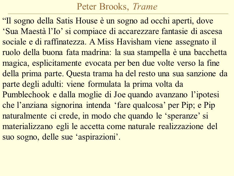 Peter Brooks, Trame Il sogno della Satis House è un sogno ad occhi aperti, dove 'Sua Maestà l'Io' si compiace di accarezzare fantasie di ascesa sociale e di raffinatezza.