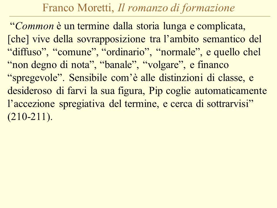 Franco Moretti, Il romanzo di formazione Common è un termine dalla storia lunga e complicata, [che] vive della sovrapposizione tra l'ambito semantico del diffuso , comune , ordinario , normale , e quello chel non degno di nota , banale , volgare , e financo spregevole .