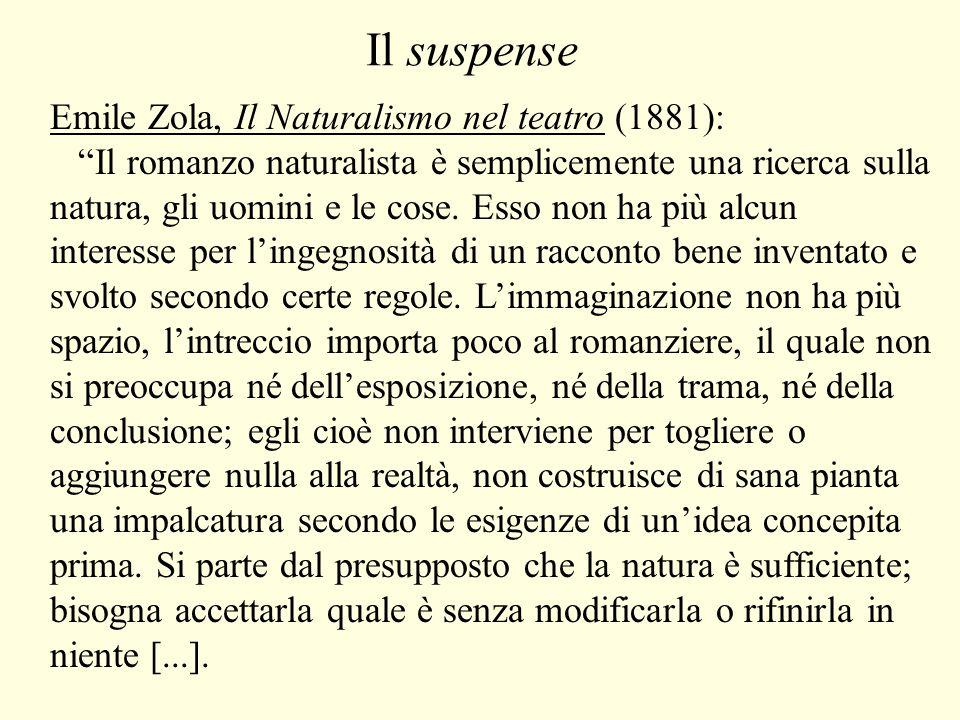 Il suspense Emile Zola, Il Naturalismo nel teatro (1881): Il romanzo naturalista è semplicemente una ricerca sulla natura, gli uomini e le cose.
