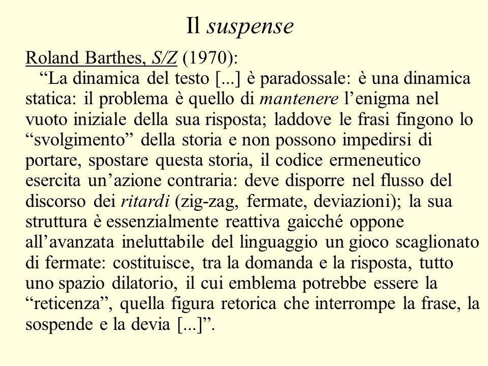 Il suspense Roland Barthes, S/Z (1970): La dinamica del testo [...] è paradossale: è una dinamica statica: il problema è quello di mantenere l'enigma nel vuoto iniziale della sua risposta; laddove le frasi fingono lo svolgimento della storia e non possono impedirsi di portare, spostare questa storia, il codice ermeneutico esercita un'azione contraria: deve disporre nel flusso del discorso dei ritardi (zig-zag, fermate, deviazioni); la sua struttura è essenzialmente reattiva gaicché oppone all'avanzata ineluttabile del linguaggio un gioco scaglionato di fermate: costituisce, tra la domanda e la risposta, tutto uno spazio dilatorio, il cui emblema potrebbe essere la reticenza , quella figura retorica che interrompe la frase, la sospende e la devia [...] .