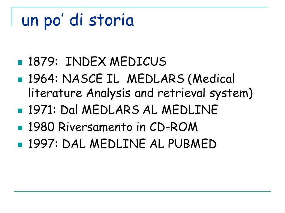 un po' di storia 1879: INDEX MEDICUS 1964: NASCE IL MEDLARS (Medical literature Analysis and retrieval system) 1971: Dal MEDLARS AL MEDLINE 1980 Riversamento in CD-ROM 1997: DAL MEDLINE AL PUBMED